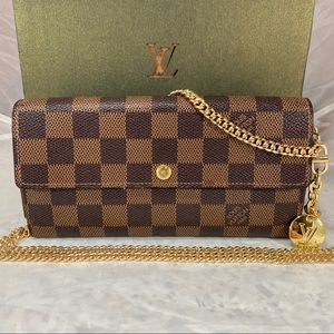 LOUIS VUITTON Damier Ebene Sarah Wallet on Chain